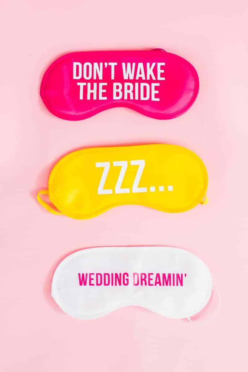 DIY eye maks bride wedding gift bridesmaids fun slogan sleep iron on Cricut-4