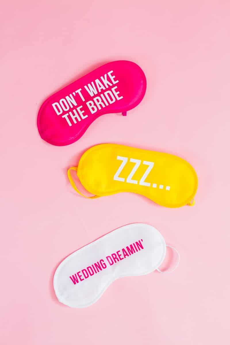 DIY eye maks bride wedding gift bridesmaids fun slogan sleep iron on Cricut-5