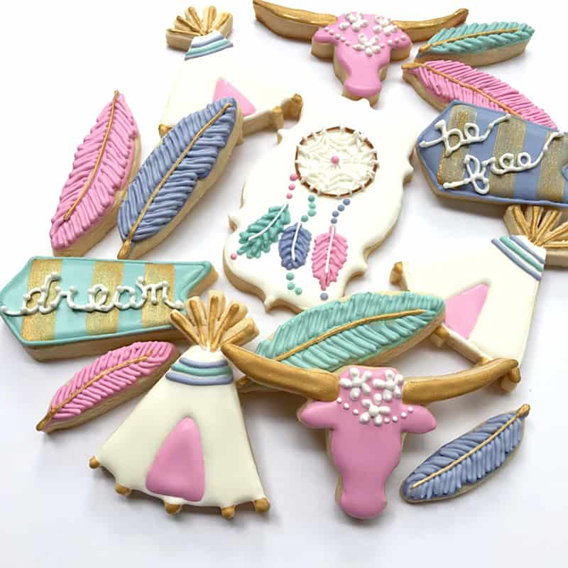 diy-bohemian-boho-cookies-festival-style-recipe-dream-catcher-feather-teepee-tipi