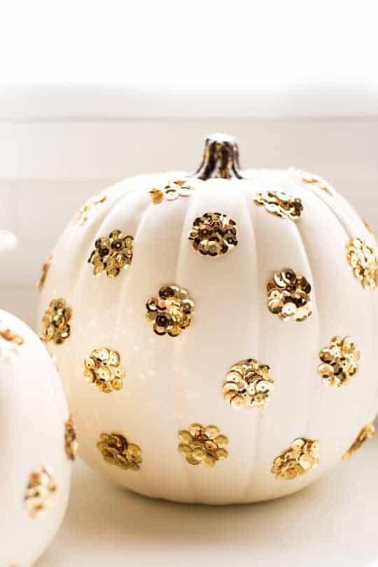 gold-polka-dot-sequin-pumpkins-for-halloween