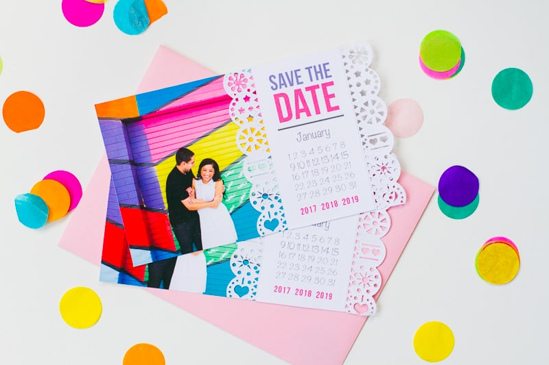 Mexican Save The Date Cricut Die Cut Colourful Fun Invitation Wedding Stationery-2