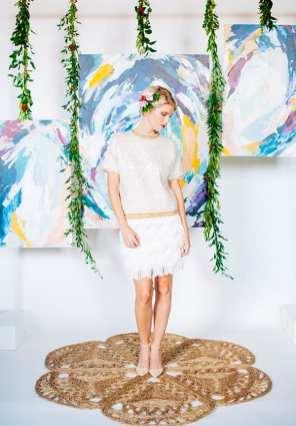 DIY Easy Artful Backdrop - photo by Ariana Clare - DIY designer Kathryn Schermbeck http://ruffledblog.com/diy-easy-artful-backdrop