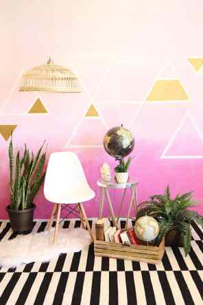CREATIVE DIY WEDDING PARTY BACKDROPS-PINK OMBRE WALL WITH GEOMETRIC ACCENTS