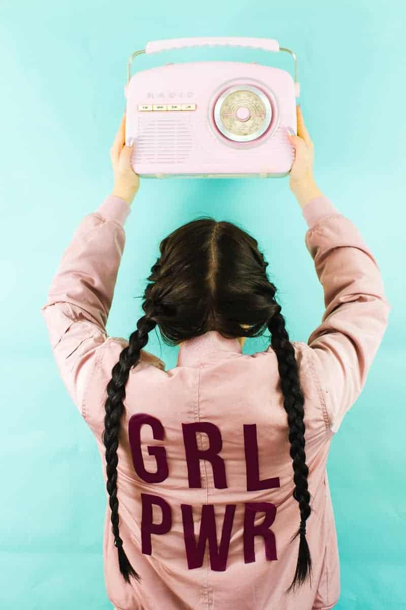Edited DIY Slogan Bomber Jacker Girl Power GRL PWR Rose Gold Pastel Pink Fashion Tutorial Iron On Cricut-7