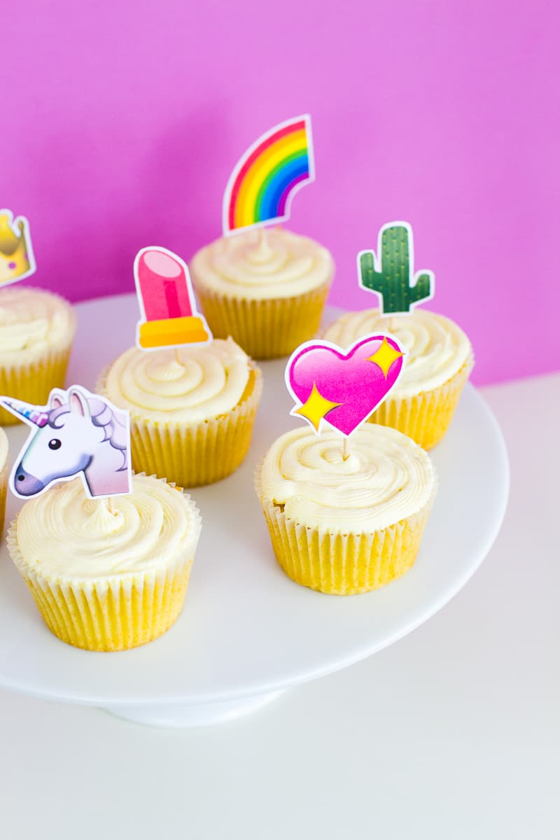 Emoji Cake Topper DIY Printable Download Fun cupcake heart unicorn watermelon rainbow_-12
