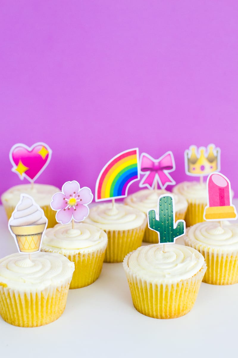 Emoji Cake Topper DIY Printable Download Fun cupcake heart unicorn watermelon rainbow_-15