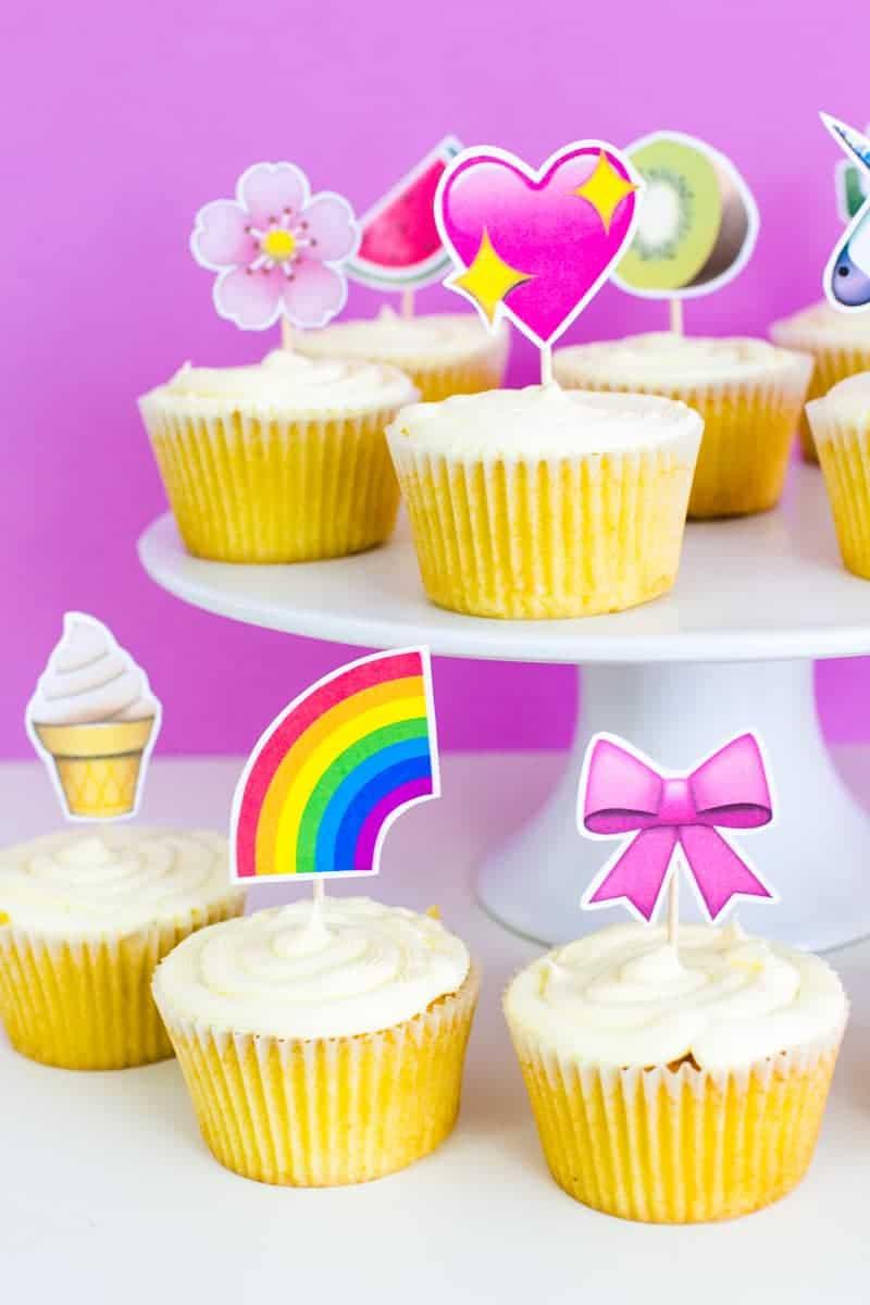 Emoji Cake Topper DIY Printable Download Fun cupcake heart unicorn watermelon rainbow_-21