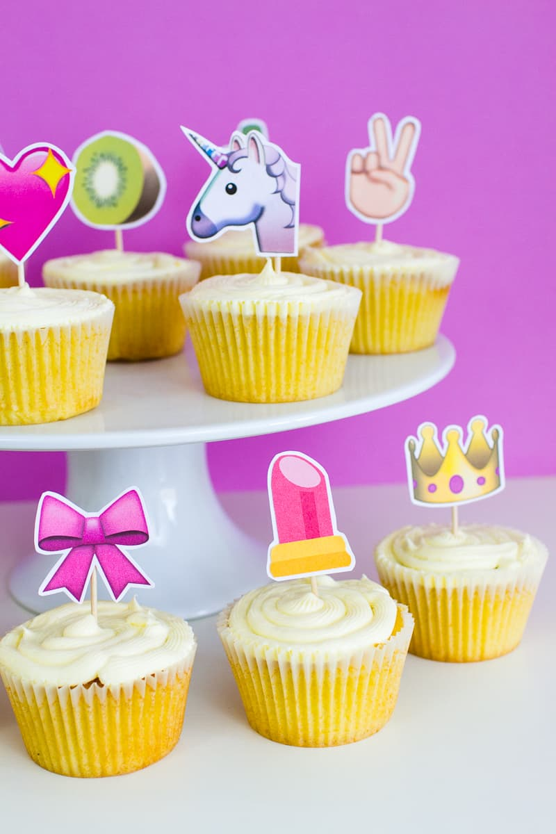 Emoji Cake Topper DIY Printable Download Fun cupcake heart unicorn watermelon rainbow_-22