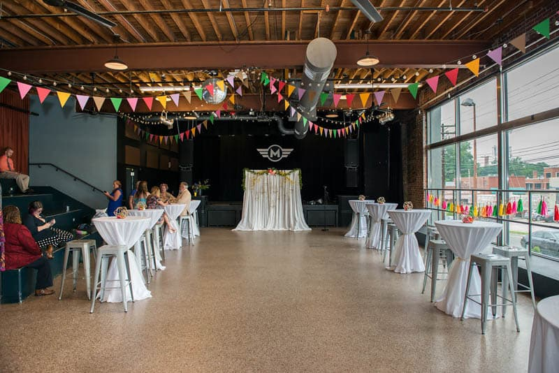COLOURFUL GEOMTRIC ELOPEMENT AFTER PARTY RECEPTION IN A MUSIC HALL (1)