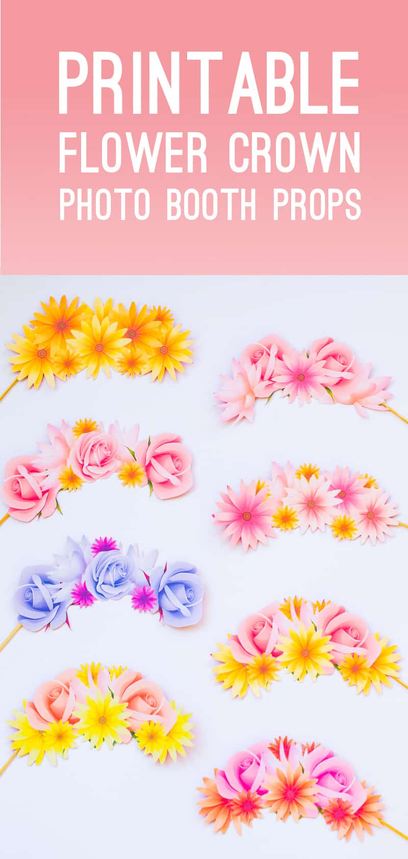 Photo Booth Props Printable Flower Crowns Hen Party Bachelorette Party Bridal Shower Download Floral-17