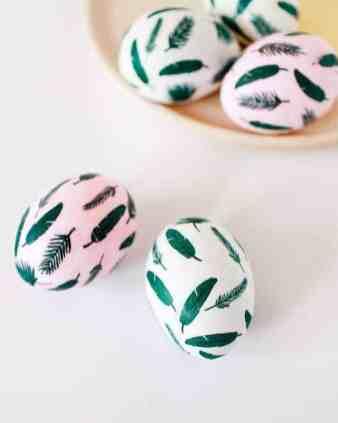 DIY-Tropical-Leaf-Easter-Eggs-OH SO BEAUTIFUL PAPER