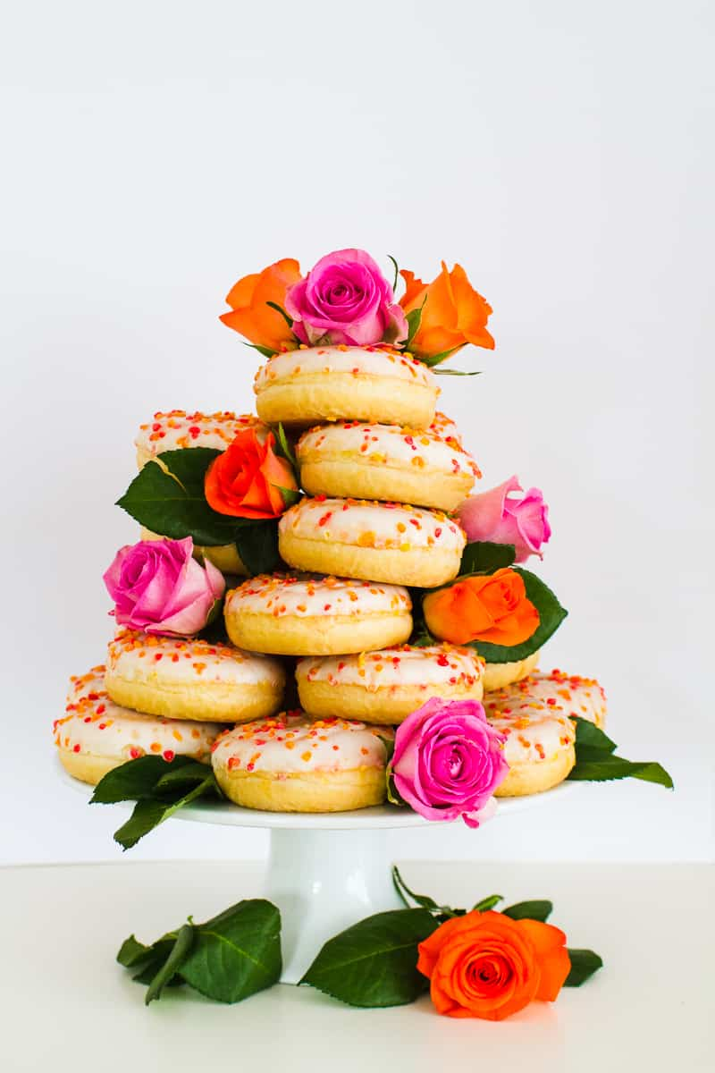 Donut Wedding Cake DIY How to make your own cheap wedding cake doughnuts wedding cake trend-9