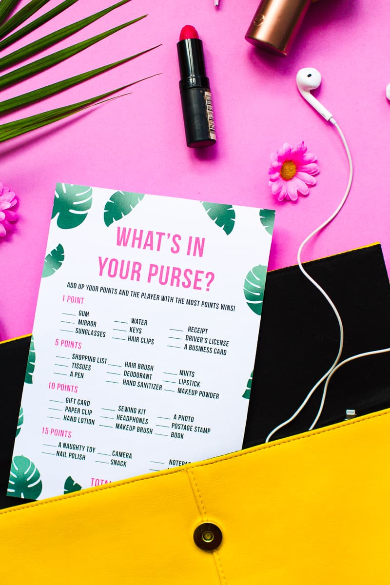 image relating to Free Printable Bridal Shower Games What's in Your Purse titled Totally free PRINTABLE WHATS Within just YOUR PURSE? TROPICAL BRIDAL