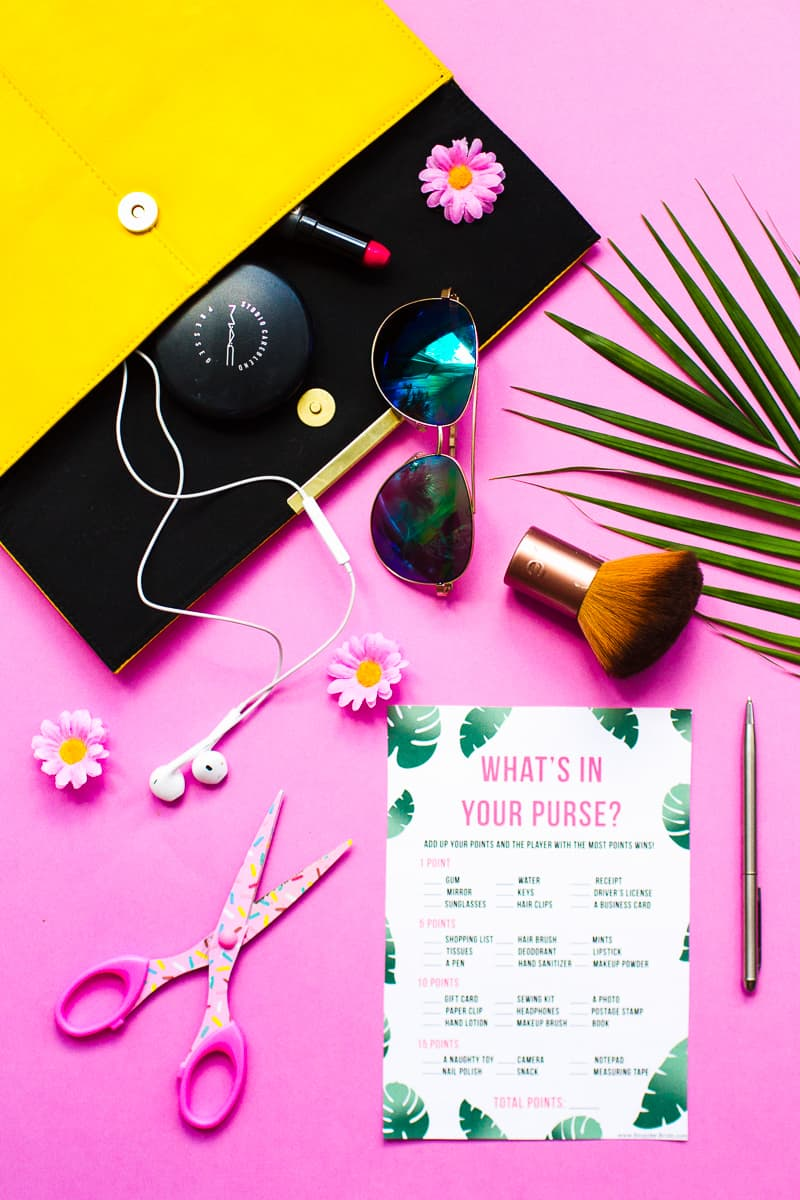 What's in your purse bag bridal shower game bachelorette party tropical theme games pack palm pink green-11