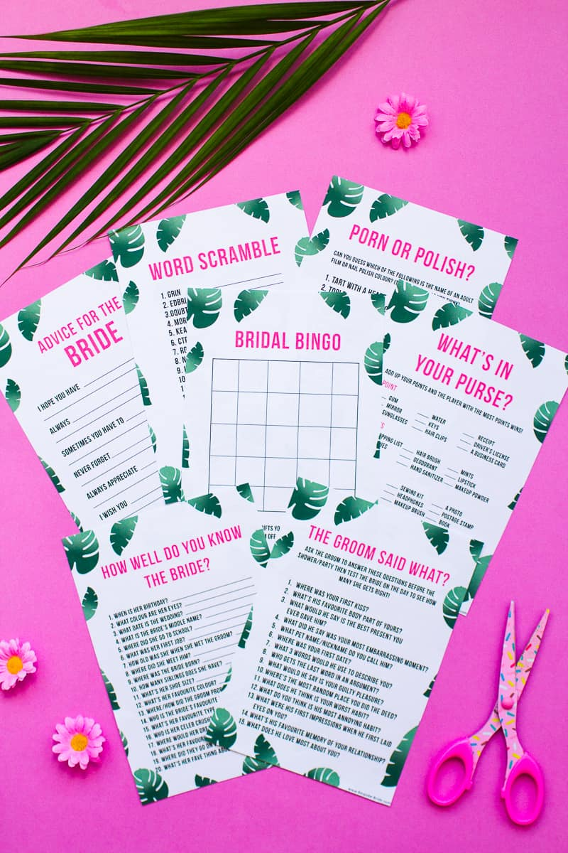 whats in your purse bag bridal shower game bachelorette party tropical theme games pack palm pink