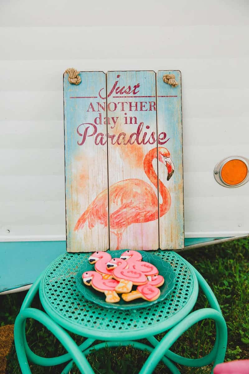 FLAMINGO THEMED ELOPEMENTS IDEAS IN A VINTAGE AIRBNB CAMPERVAN (5)
