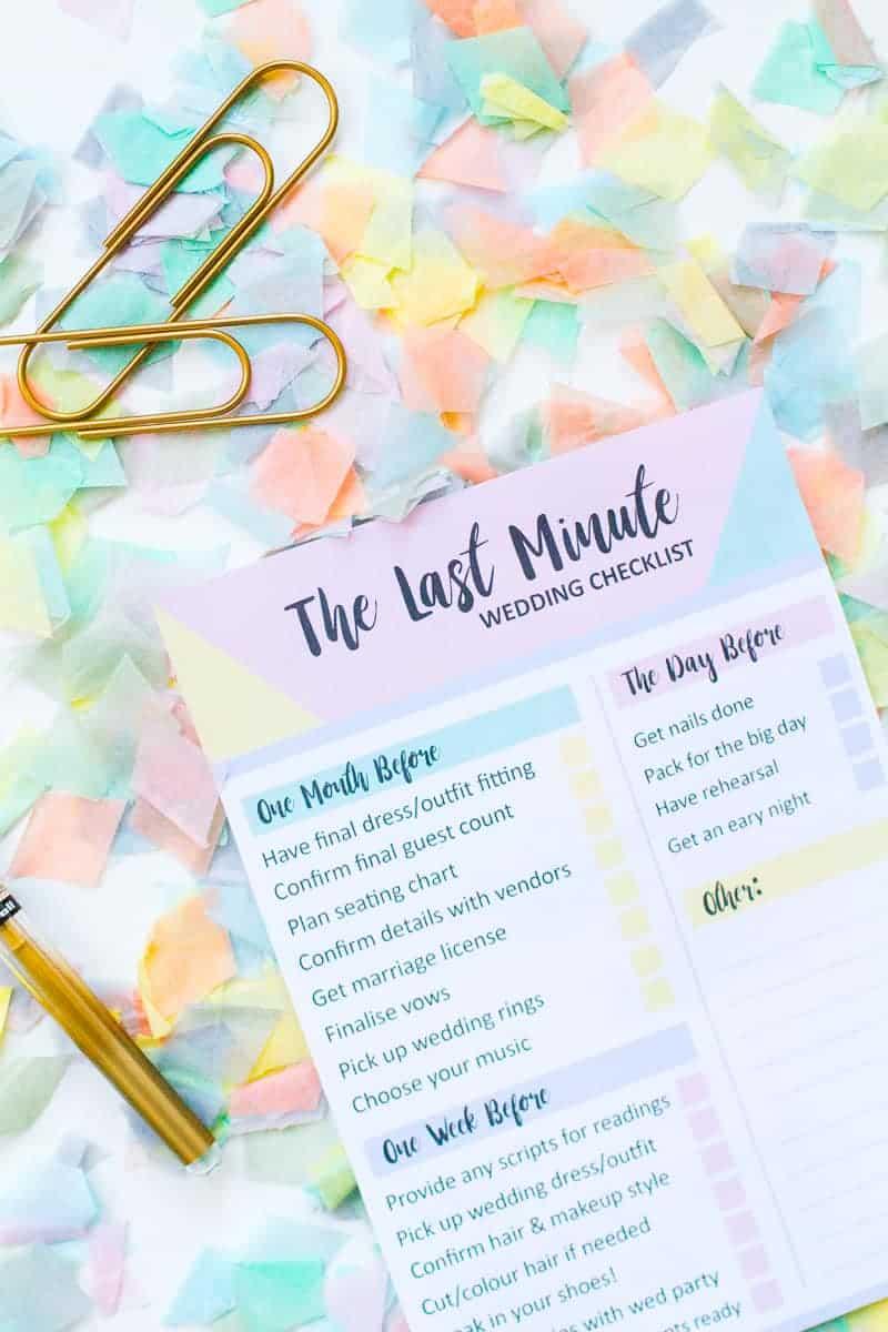 GRAB THIS FREE PRINTABLE LAST MINUTE WEDDING CHECKLIST | Bespoke ...