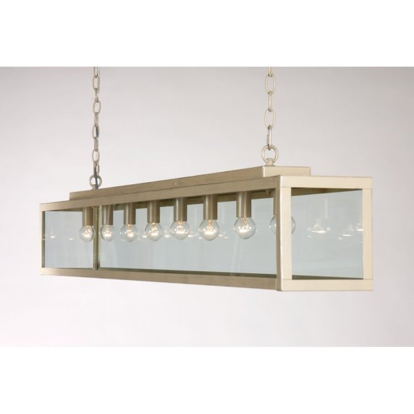 Long Bar Suspension Ceiling Pendant Light on Chains, Ivory ...