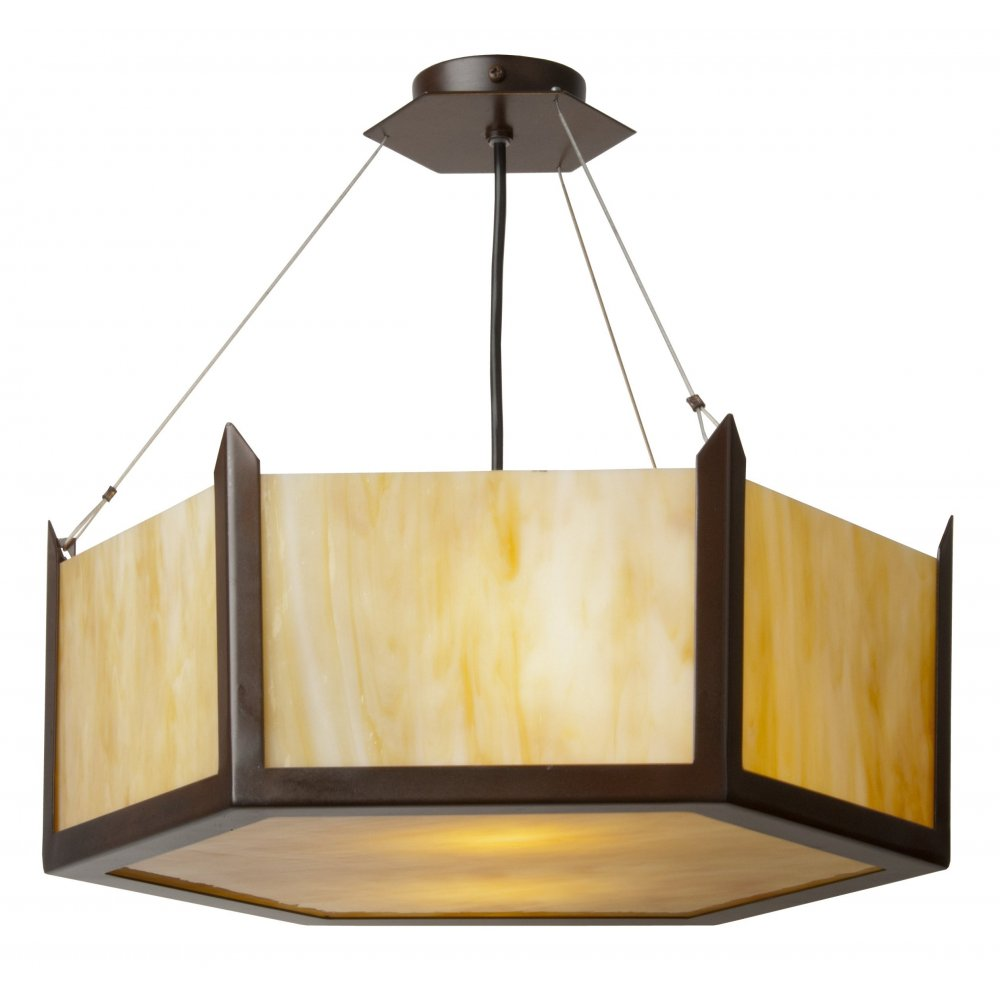 Art Deco Uplighter Ceiling Pendant With Hexagonal Amber Marbled Glass