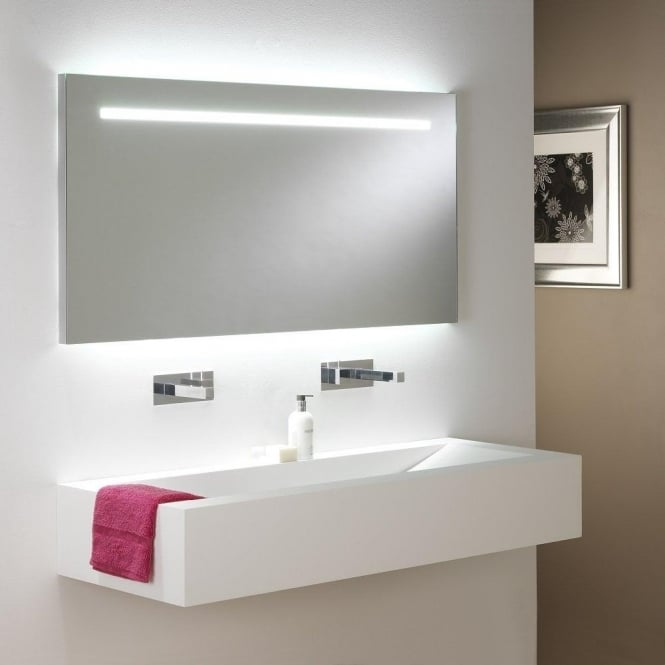 large bathroom mirror with low energy lights, ip44 and double