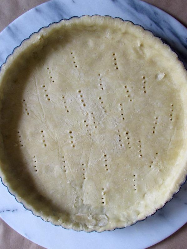 Pastry dough in tart pan