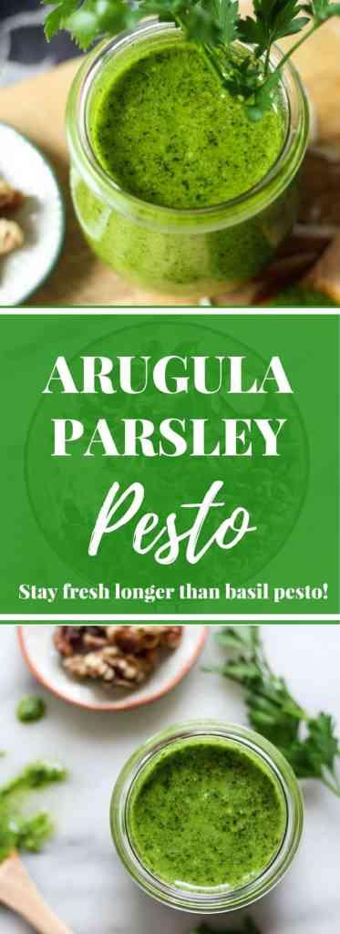 Arugula Parsley Pesto with walnuts, how to make pesto, how to keep pesto fresh