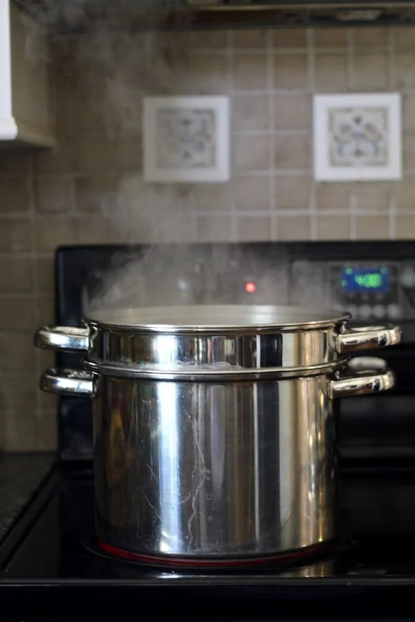 Pot on stove boiling