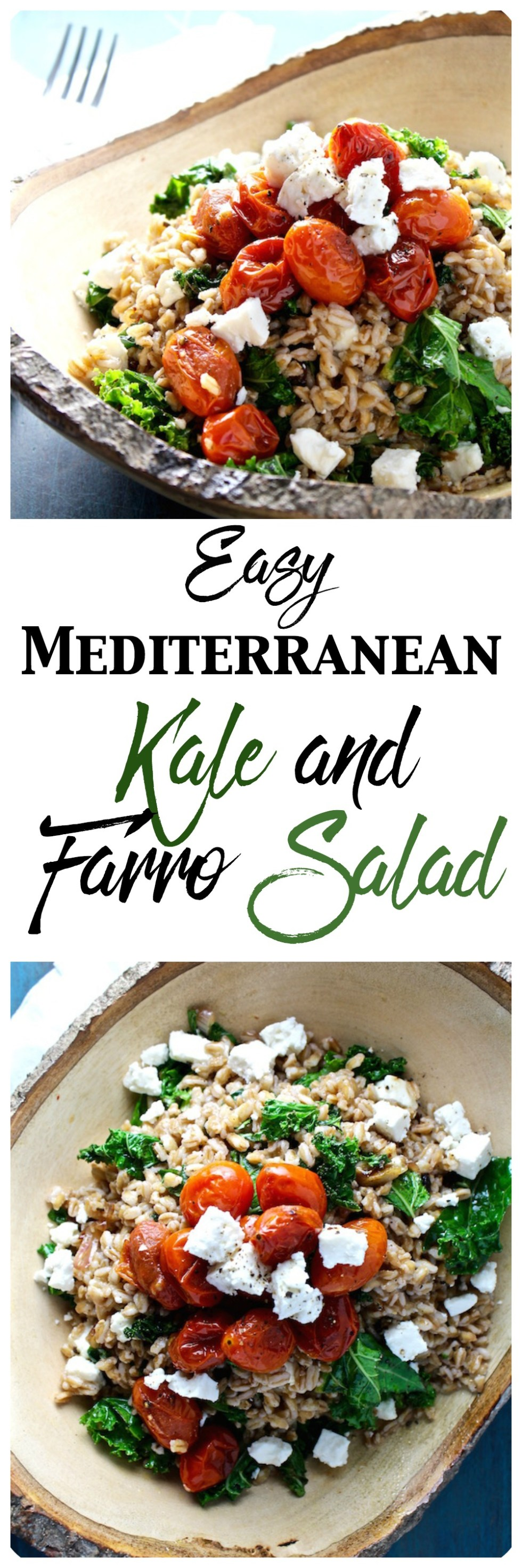easy kale and mediterranean kale and farro salad pinterest