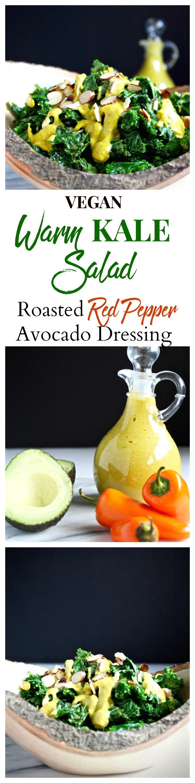 warm kale salad roasted red pepper dressing pinterest