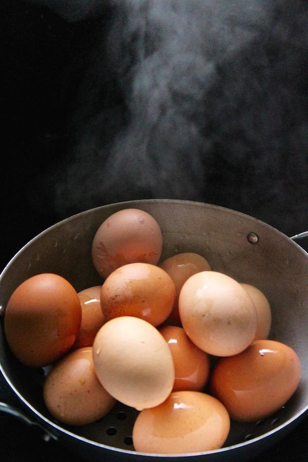 boiled eggs steamed