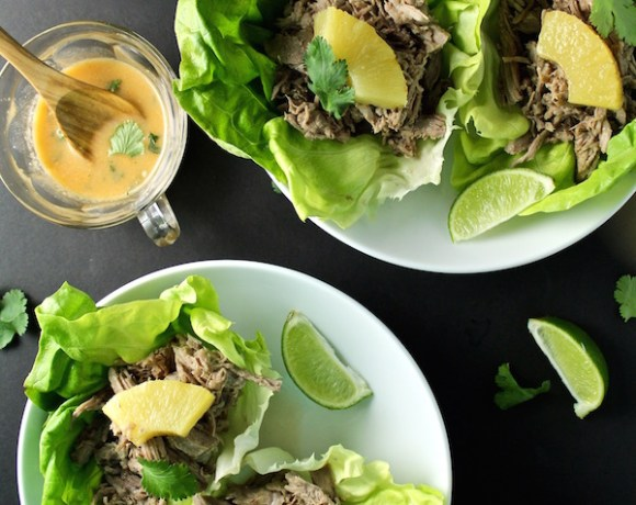 SLOW COOKER PINEAPPLE PORK CARNITAS LETTUCE WRAP TACOS | COCONUT MILK CILANTRO SAUCE
