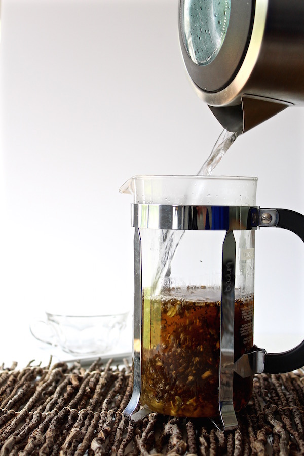french press tea poured