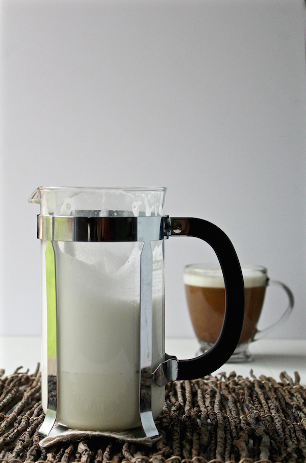 milk foam french press coffee