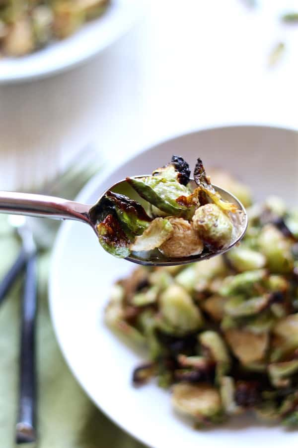 crispy brussel sprouts closeup