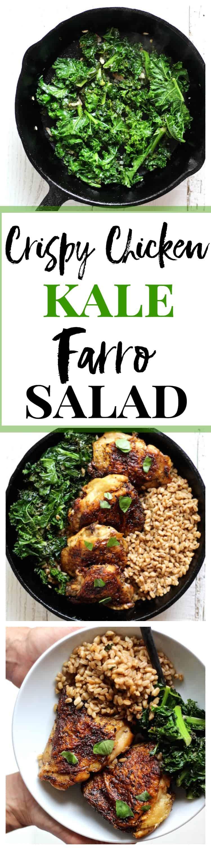 crispy chicken kale farro salad pinterest