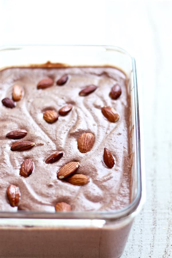 no churn spicy chocolate ice cream with almonds