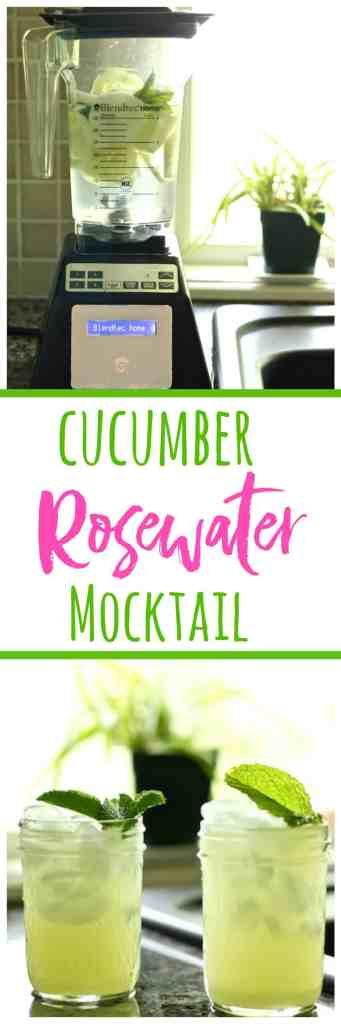 Try this easy cucumber rosewater mocktail with fresh ginger, mint, and agave for a perfect summer beverage!