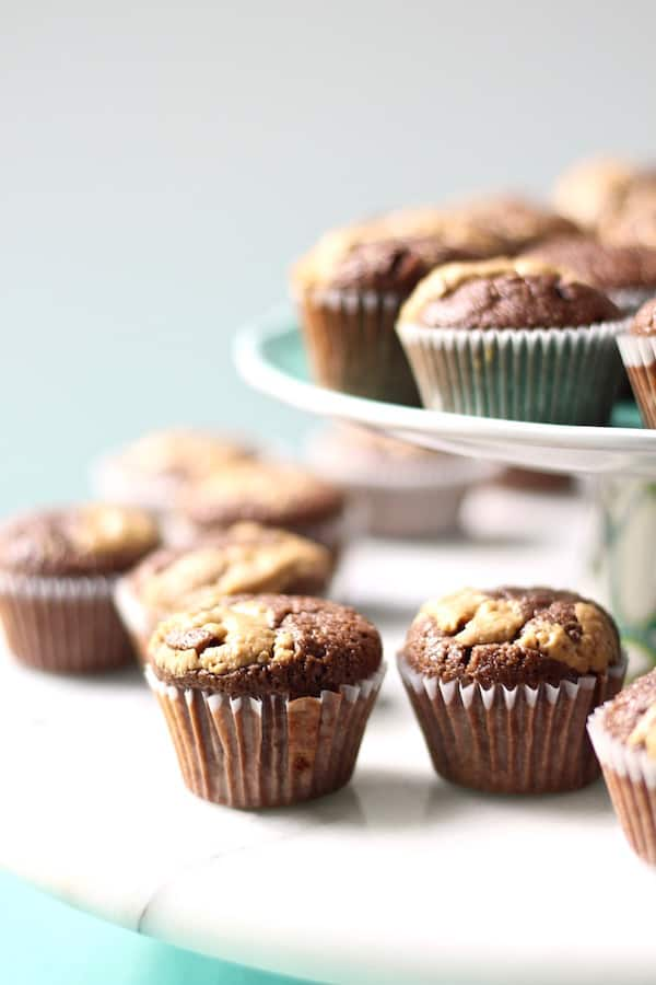 chocolate peanut butter browned butter mini cupcakes...ooh la la!