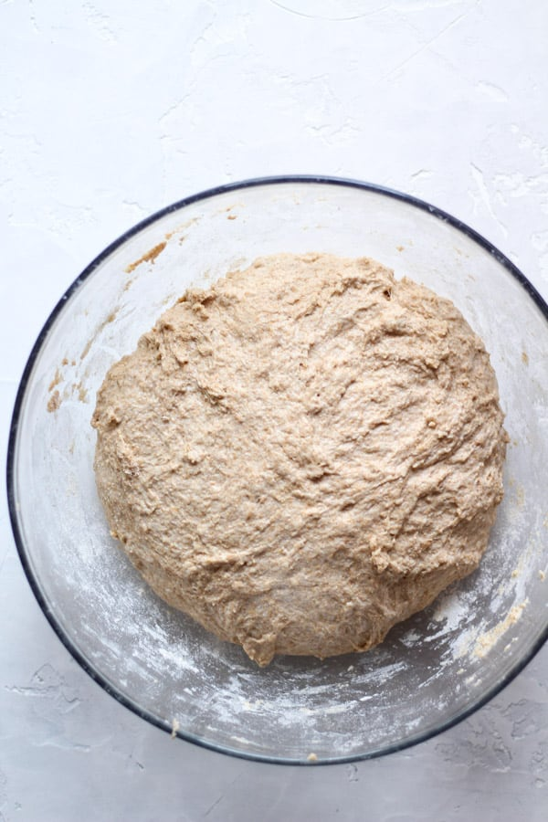 Sourdough honey spelt bread dough mixed