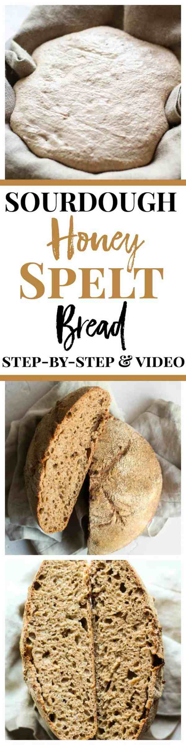 Sourdough Honey Spelt Bread recipe with step-by-step and a video!