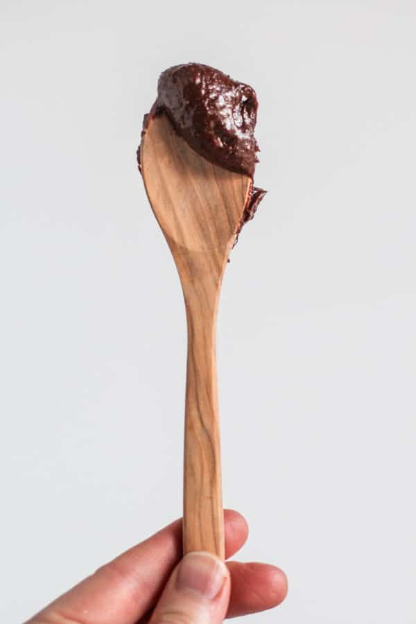 Choclate Avocado Nutella on a spoon