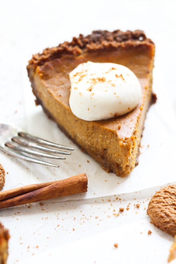 Luscious Cream Cheese Pumpkin Pie with gingersnap crust