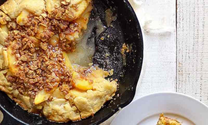 Easy Peach Crostata with spiced crumble baked in a cast iron skillet