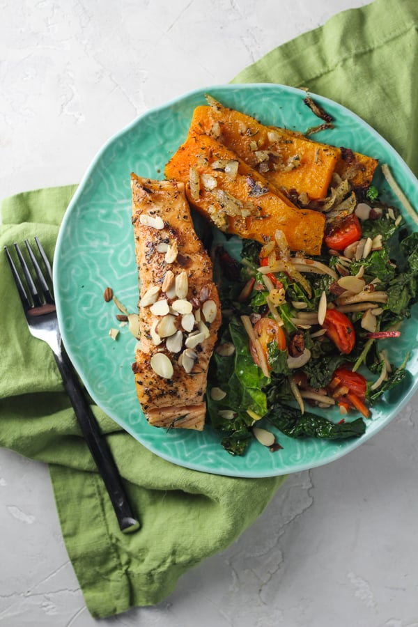 Almond crusted salmon from green chef meal delivery service
