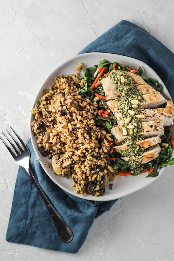 Paleo Basil Pesto Chicken from Green Chef organic meal delivery service