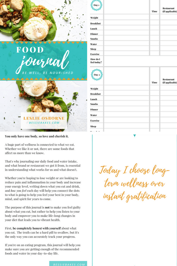Food Journal, food diary preview photo bessie bakes