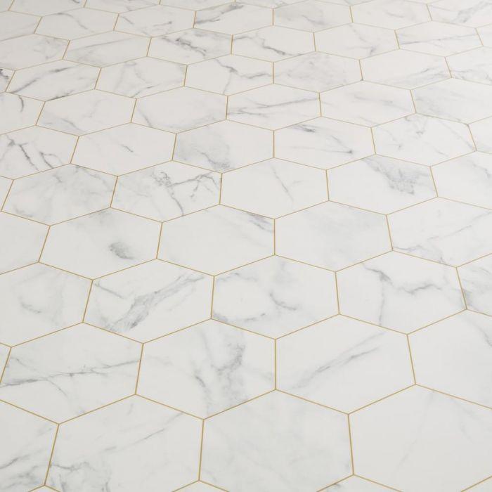 carrara bianca esagono sheet vinyl flooring