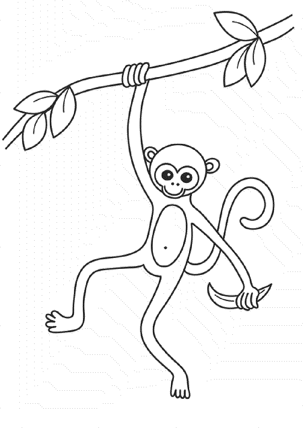 Print & Download - Coloring Monkey Head with Monkey ...