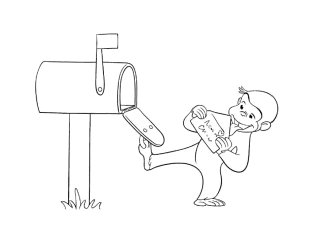 curious-george-open-the-mailbox-coloring-pages