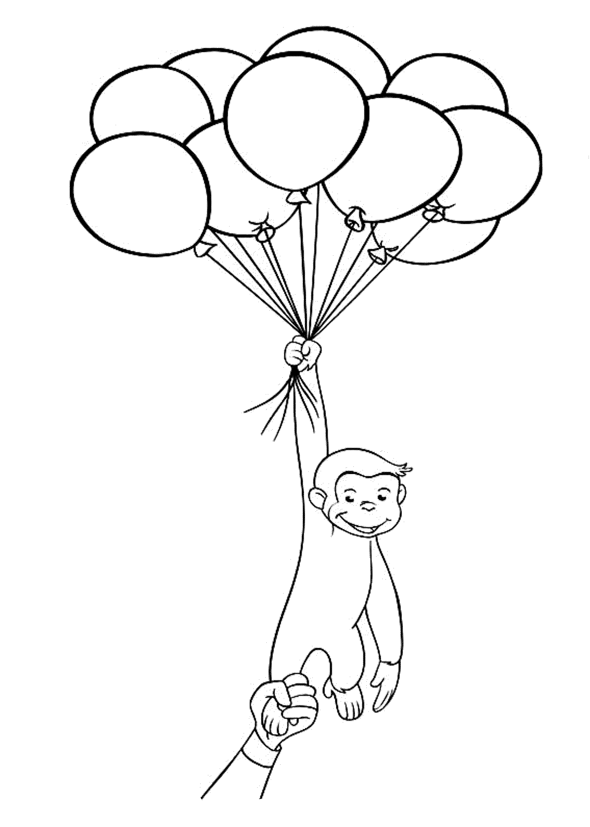 Curious George With Balloons Coloring Pages